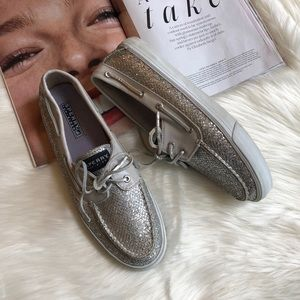 Sperry Top Spider Silver Glitter Sparkle Flats 9.5